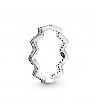 PANDORA Anillo Zigzag en plata de primera ley con circonitas transparentes