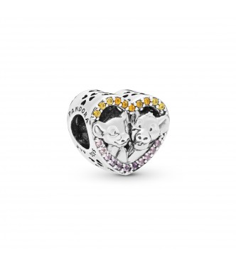Pandora Disney Simba and Nala silver heart charm with rose pink crystal, orange and honey CZ and synthetic pink sapphire