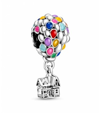 Pandora Disney Up balloon sterling silver charm with blue, green, orange, pink and light blue enamel 798962C01