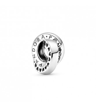 Pandora Pandora logo and hearts sterling silver spacer 799035C00