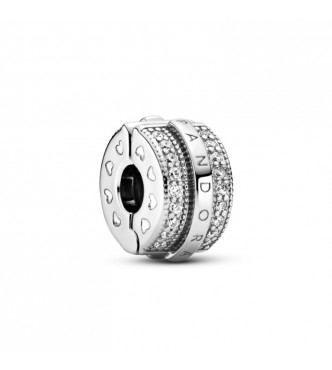 Pandora Pandora logo sterling silver clip with clear cubic zirconia and silicone grip 799042C01