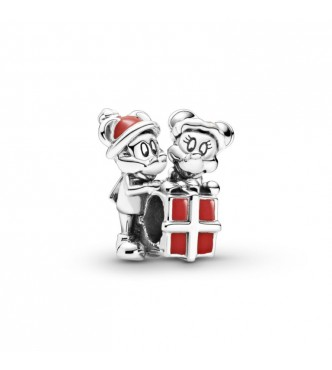 PANDORA Disney Mickey, Minnie and gift box sterling silver charm with red enamel 799194C01