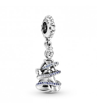 PANDORA Disney Cinderella sterling silver dangle with fancy light blue and clear cubic zirconia, skylight blue and forever blue crystal 799201C01