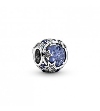 PANDORA Crescent moon and star sterling silver charm with skylight blue, stellar blue, true blue and icy blue crystal and clear cubic zirconia 799209C01
